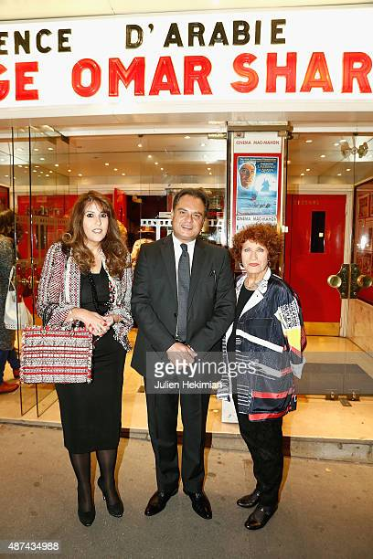 Guest Egyptian Ambassador Ehab Badawi and french actress Andrea Ferreol attend the Hommage to Omar Sharif at cinema Mac Mahon on September 9 2015 in...