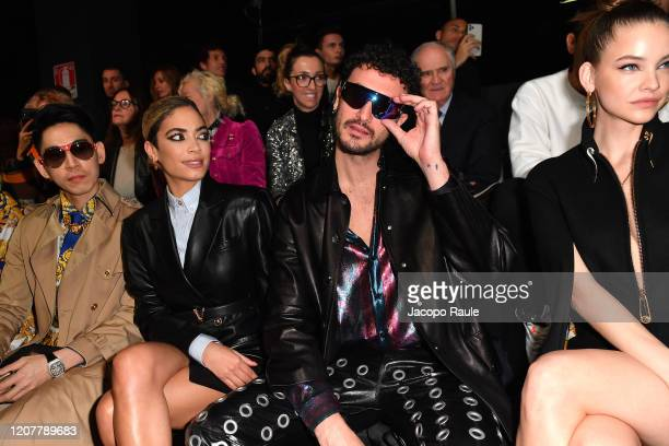 Guest Elodie Di Patrizi Carl Brave and Barbara Palvin attend the Versace fashion show on February 21 2020 in Milan Italy