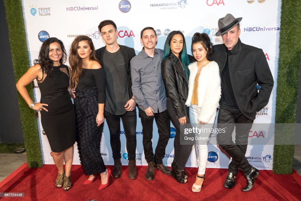 Guest, Emily Wright, Chris Wright, Guest, Guest, Gloria Kim and Dylan Berry attend The Junior Hollywood Radio & Television Society's 15th Annual Holiday Party at Le Jardin on December 6, 2017 in Hollywood, California.
