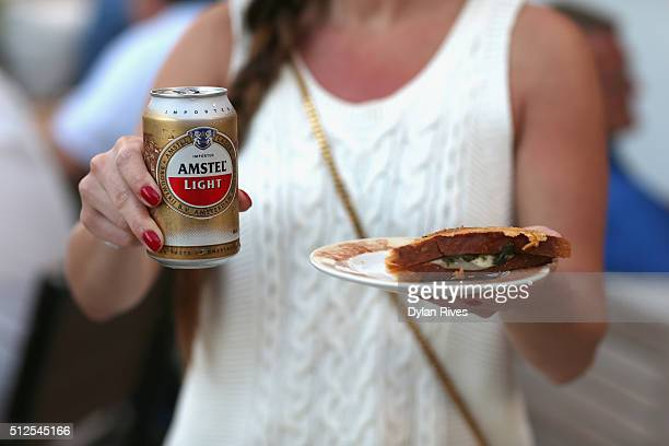 Guest enjoy Amstel Light Lager Beer at the Grilled Cheese Happy Hour Hosted By Laura Werlin And Ms Cheezious during 2016 Food Network Cooking Channel...