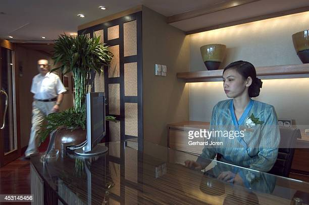 A guest enters the Tower Lounge a private area reserved for guests staying on the executive floors of the Royal Orchid Sheraton hotel The floors are...