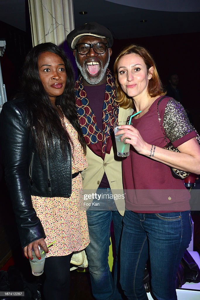 A guest, Eriq Ebouaney and Isabelle Theviot attend the Villa Schweppes Launch Party For Cannes Film Festival 2013 At Salle Wagram on April 24, 2013 in Paris, France.