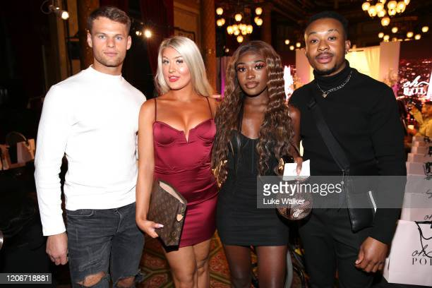 Guest Eve Gale Leanne Amaning and guest attend the Oh Polly Fashion Show By Planet Fashion at London Fashion Week at The Royal Horseguards on...