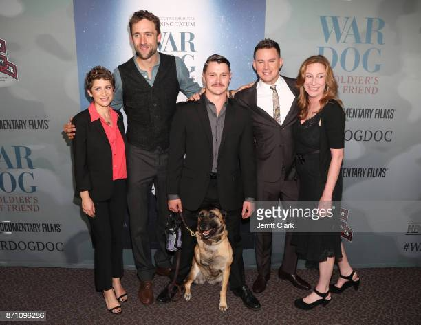 Guest executive producer Reid Carolin Trent McDonald and dog Layka producer/actor Channing Tatum and director Deborah Scranton attend HBO And Army...