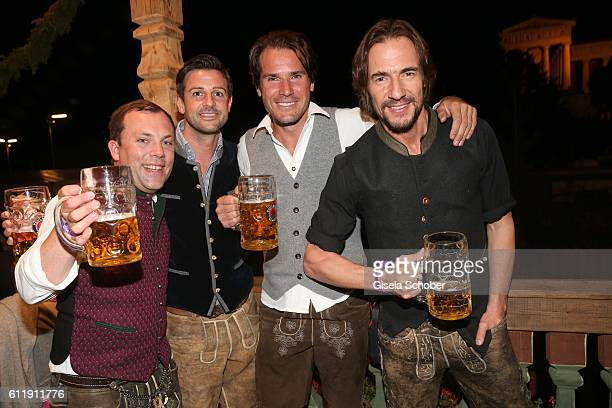 Guest Florian Orterer Tommy Haas and Thomas Hayo during the Oktoberfest at Kaeferschaenke /Theresienwiese on October 1 2016 in Munich Germany