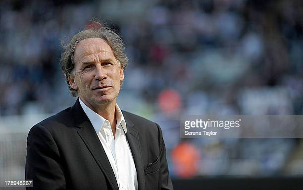 Guest Franco Baresi comes on to the pitch at half time during the Barclays Premier League match between Newcastle United and Fulham at St James Park...