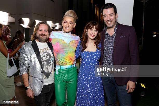 """Guest, Frankie Grande, Zooey Deschanel, and Jonathan Scott attends the """"We're Here"""" Season 2 Premiere at Sony Pictures Studios on October 08, 2021 in..."""