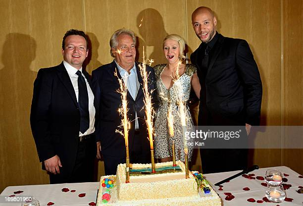 A guest from Chateau de Saint Cloud Fundation Massimo GargiaTatiana Laurens Delarue and Xavier Delarue attend the Benefit Dinner For The...