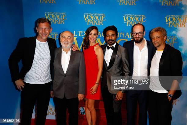 Guest Gerard Jugnot Berenice Bejo Dhanush Ken Scott and Abel Jafri attend 'L'Extraordinaire Voyage du Fakir' Paris Premiere at Publicis Champs...