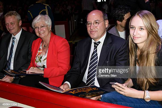 A guest Gerda Hasselfeldt Gregor Gysi and Anna Gysi attend the Circus Krone Berlin Premiere on September 17 2014 in Berlin Germany