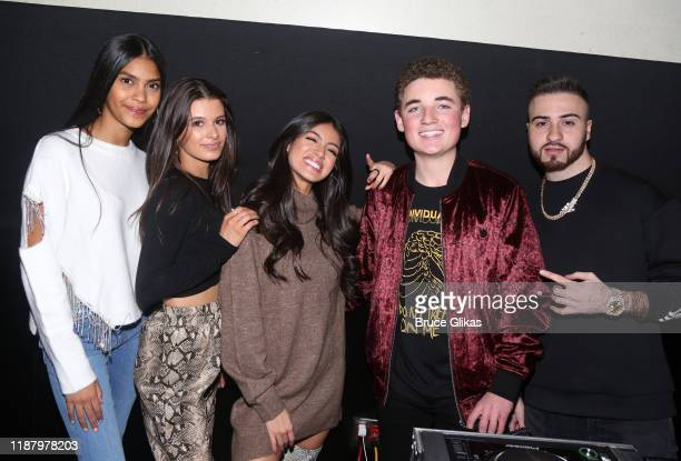 Guest Gianna Ferazi Jocelyn Delgado Ryan McKenna aka The Selfie Kid and DJ NYCE pose during a launch event promoting Selfie Kid X Brooklyn Cloth...