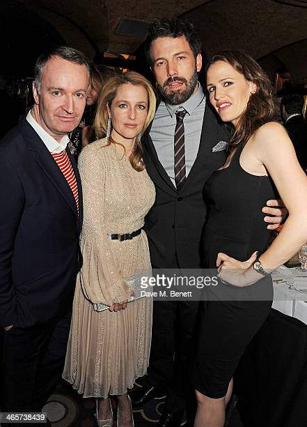 Guest Gillian Anderson Ben Affleck and Jennifer Garner attend the Charles Finch and Chanel PreBAFTA cocktail party and dinner at Annabel's on...