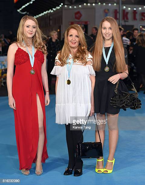 Guest Gillian McKeith and Afton McKeith arrive for the European premiere of 'Eddie The Eagle' at Odeon Leicester Square on March 17 2016 in London...