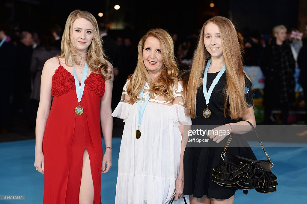 Guest, Gillian McKeith and Afton McKeith arrive for the European premiere of 'Eddie The Eagle' at Odeon Leicester Square on March 17, 2016 in London, England.