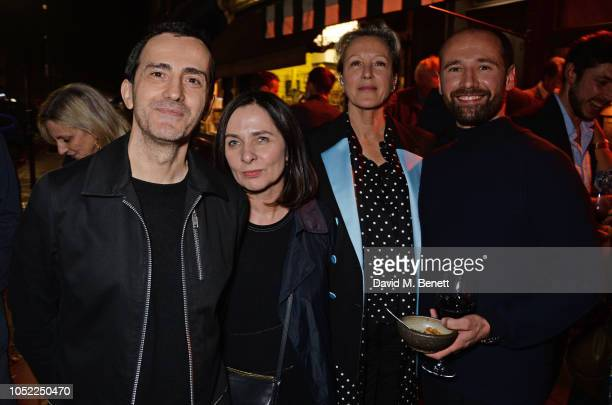 Guest Gillian McVey Nikki Tibbles and Will Thompson attend the 10th anniversary of Primrose Hill restaurant Odette's on October 15 2018 in London...