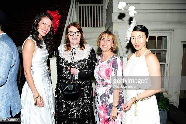Guest Glenda Bailey Susan Mathisen and MaryElizabeth Walker attend Historic Royal Palaces Patrons Secret Garden Party at Merchant's House Museum on...