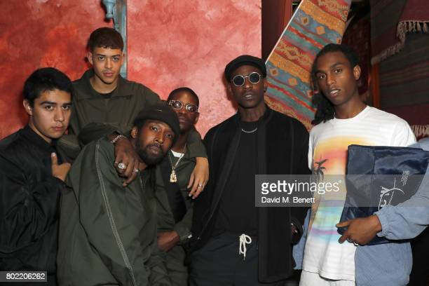 guest guest Jammer guest Skepta and Bakar attend the launch of Skepta's new fashion label Mains at Selfridges on June 27 2017 in London England