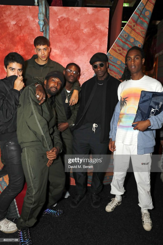 guest, guest, Jammer, guest, Skepta and Bakar attend the launch of Skepta's new fashion label 'Mains' at Selfridges on June 27, 2017 in London, England.