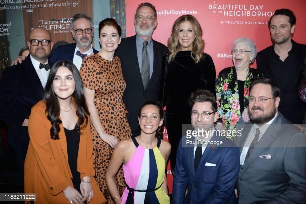 Guest Guest Marielle Heller Tom Hanks Leah Holzer Rita Wilson Micah FizermanBlue Joanne Rogers Noah Harpster and Matthew Rhys attend New York Special...