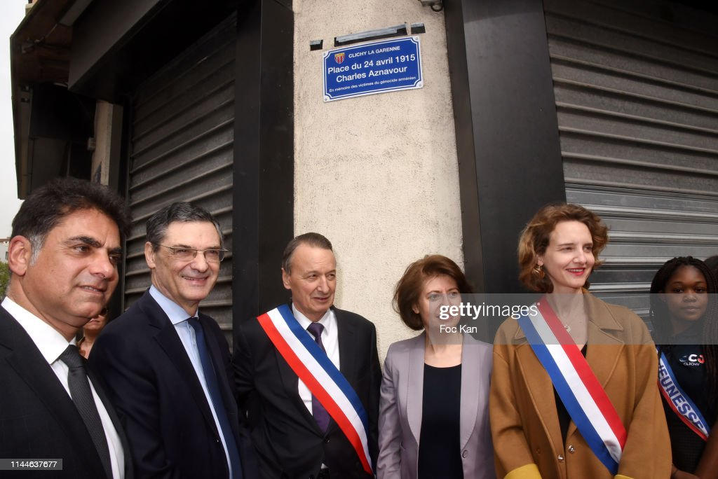 FRA: Place Charles Aznavour Unveiling At Clichy La Garenne