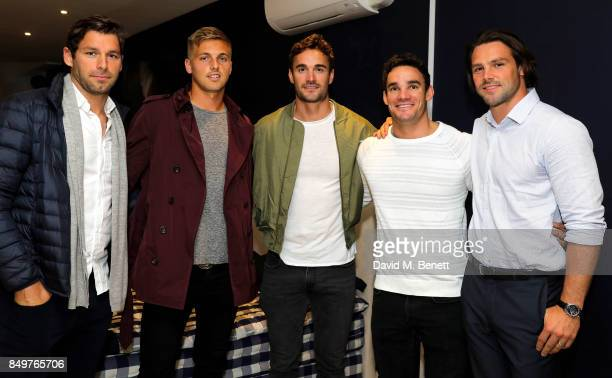 Guest Heather Watson Max Evans Thom Evans and Ben Foden attend the launch party for Hastens Appaloosa The Marwari Beds at the Hastens Chelsea...