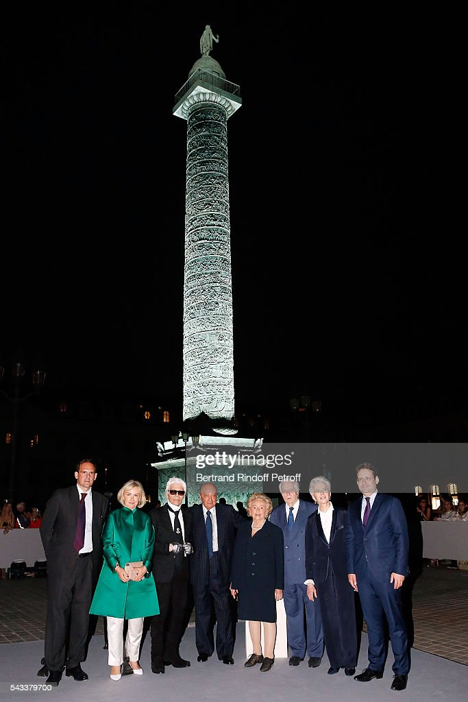 guest, Heini Wathen, Karl Lagerfeld, Mohamed Al-Fayed, Bernadette Chirac, Franck Klein, Beatrice de Plinval and Matthias Fekl attend the 'Colonne Vendome' Is Unveiled After Restoration Works on June 27, 2016 in Paris, France.