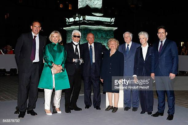 guest Heini Wathen Karl Lagerfeld Mohamed AlFayed Bernadette Chirac Franck Klein Beatrice de Plinval and Matthias Fekl attend the Colonne Vendome Is...