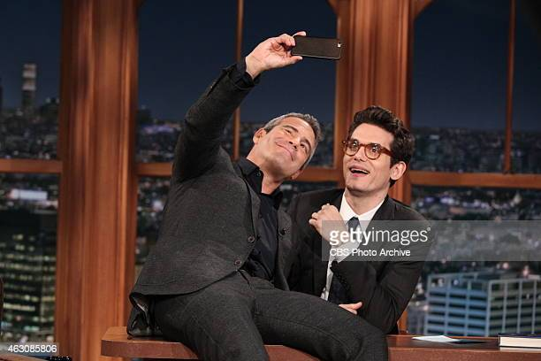 Guest Host John Mayer on THE LATE LATE SHOW with guest Andy Cohen on Feb 4 2015 on the CBS Television Network