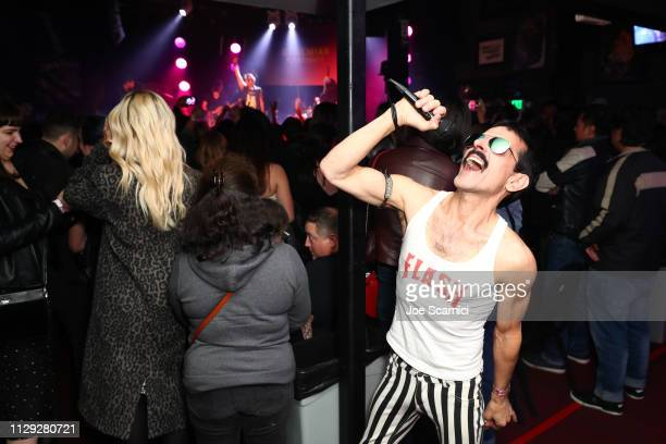 A guest in cosplay attends Bohemian Rhapsody's Get Loud Extravaganza at Whiskey a Go Go on February 12 2019 in Los Angeles California