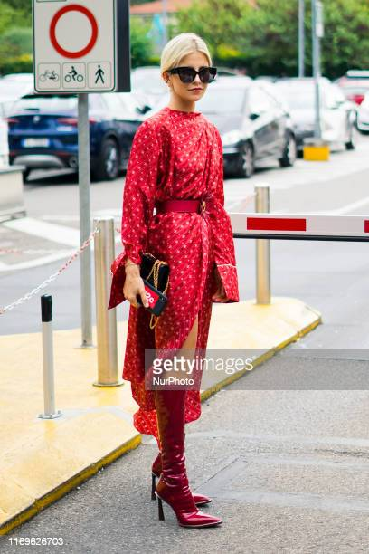 A guest in seen during Milan Fashion Week Womenswear Spring/Summer 2020 on 19 September 2019 in Milan Italy
