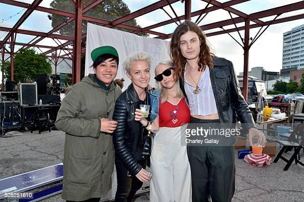 Guest internet influencers Brittenelle Fredericks Sara Dinkin and musician Garrett Borns of BORNS attend Discover Los Angeles' 'Get Lost' PopUp...