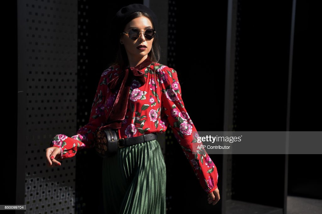A guest is pictured outside the show for fashion house Gucci during ...