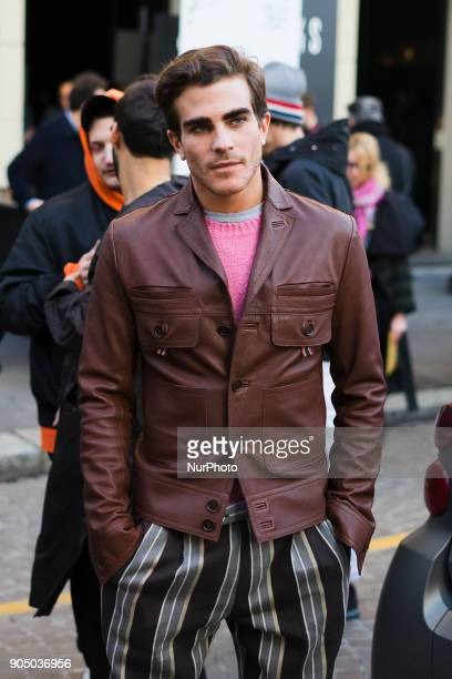 A Guest is seen after DAKS fashion show during Milan Men's Fashion Week Fall/Winter 2018/19 on January 14 2018 in Milan Italy