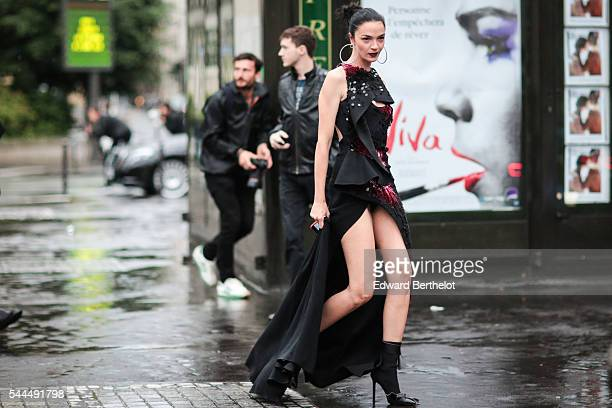 Guest is seen after the Atelier Versace show, at Palais Brongniart, during Paris Fashion Week Haute Couture F/W 2016/2017, on July 3, 2016 in Paris,...