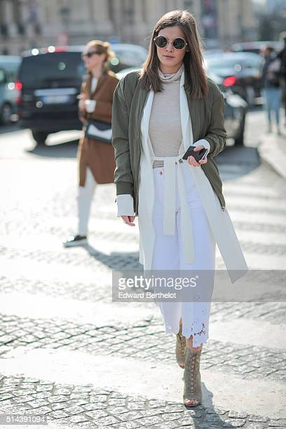 A guest is seen after the Chanel show during Paris Fashion Week Womenswear Fall Winter 2016/2017 on March 8 2016 in Paris France