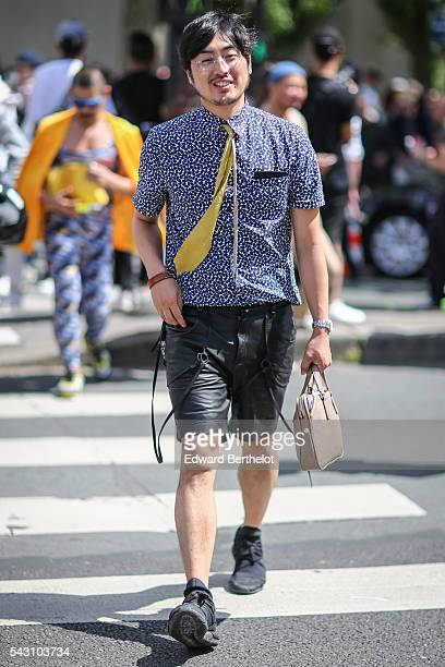 Guest is seen, after the Dior show, during Paris Fashion Week Menswear Spring/summer 2017, on June 25, 2016 in Paris, France.
