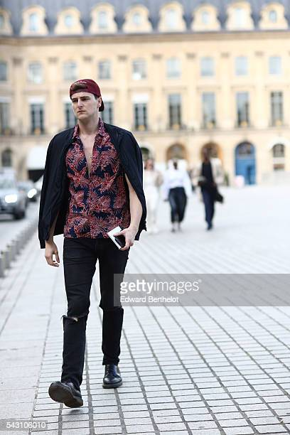 Guest is seen, after the Henrik Vibskov show, during Paris Fashion Week Menswear Spring/summer 2017, on June 25, 2016 in Paris, France.