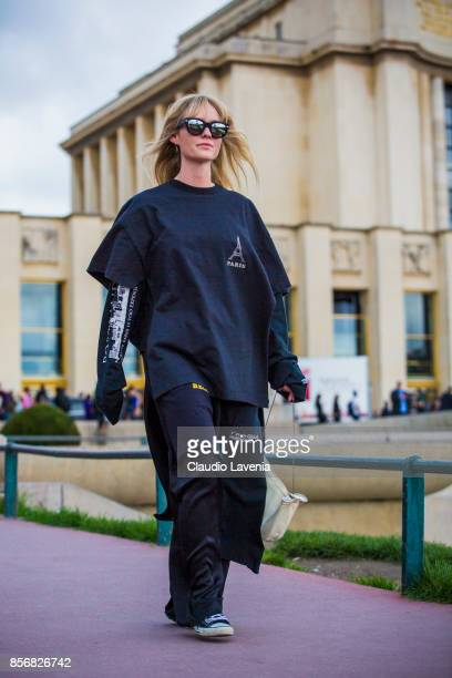 A guest is seen after the Hermes show during Paris Fashion Week Womenswear SS18 on October 2 2017 in Paris France