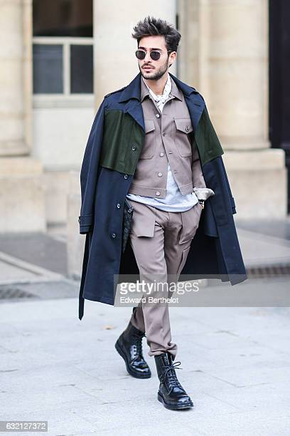 A guest is seen after the Louis Vuitton show during Paris Fashion Week Menswear Fall/Winter 2017/2018 outside the Palais Royal on January 19 2017 in...