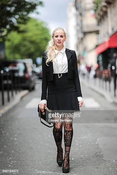A guest is seen after the Stephane Rolland show during Paris Fashion Week Haute Couture F/W 2016/2017 on July 5 2016 in Paris France