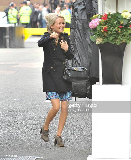 A guest is seen arriving at the Goring Hote ahead of the royal wedding on April 28 2011 in London England