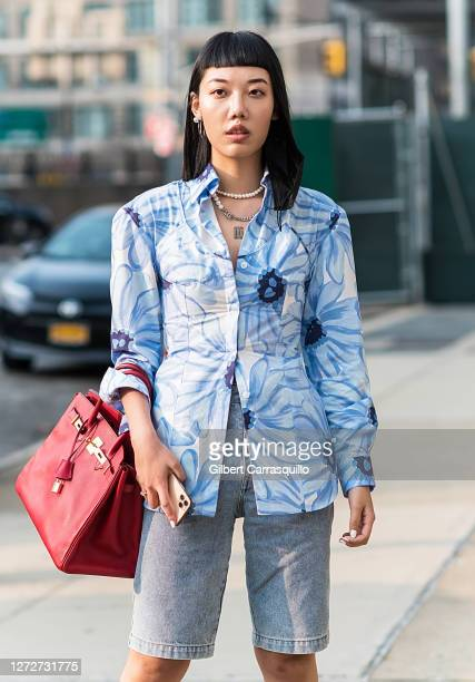 A guest is seen arriving at the Rebecca Minkoff presentation during New York Fashion Week The Shows at Spring Studio on September 15 2020 in New York...