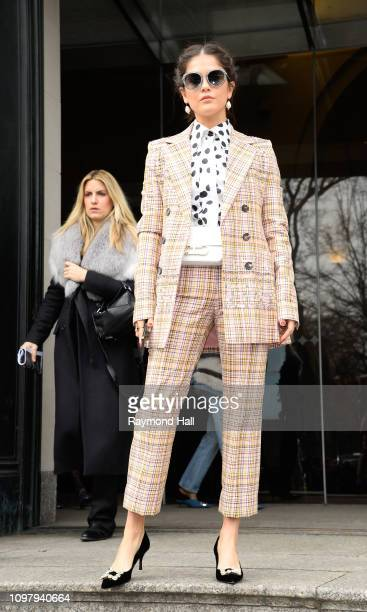 A guest is seen arriving to Carolina Herrera Fall/Winter 2019 Fashion Show during New York Fashion Week at the New York Historical Societyon February...