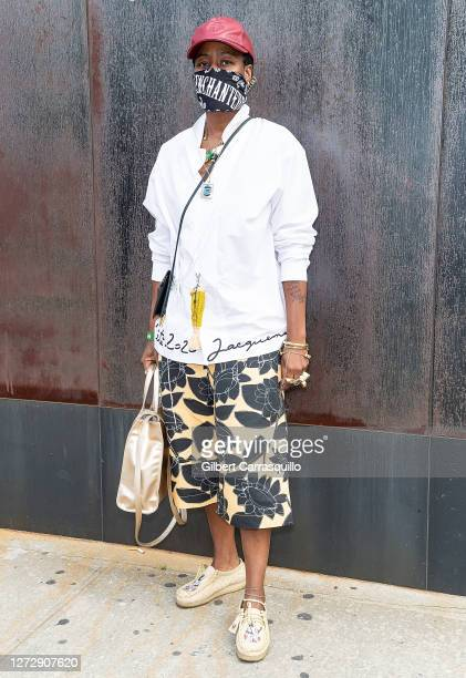 A guest is seen arriving to Studio 189 Presents Fashion Our Future 2020 during New York Fashion week at Spring Studio on September 16 2020 in New...