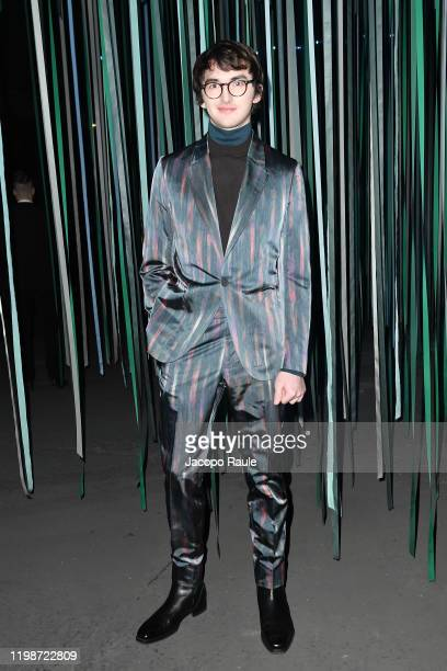 Guest is seen at the Ermenegildo Zegna fashion show on January 10, 2020 in Milan, Italy.