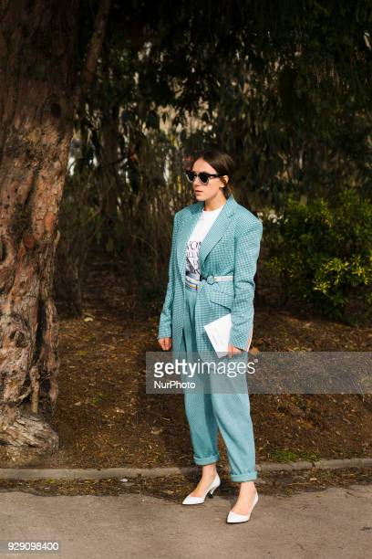 A guest is seen at Valentin Yudashkin fashion show during Paris Fashion Week Fall/Winter 2018/19 on 5 March 2018 in Paris France