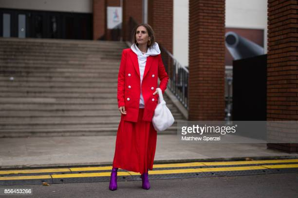 A guest is seen attending Cline during Paris Fashion Week wearing Cline on October 1 2017 in Paris France