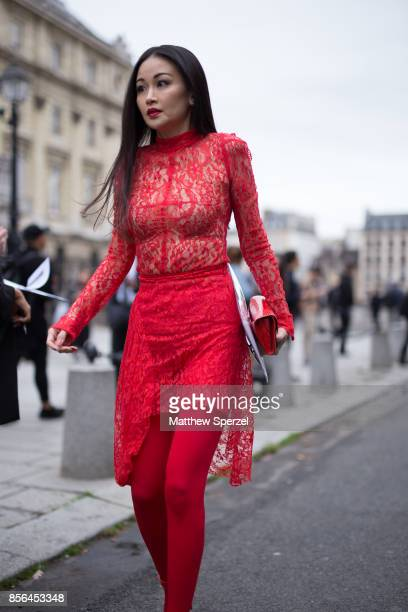 A guest is seen attending Givenchy during Paris Fashion Week wearing Givenchy on October 1 2017 in Paris France