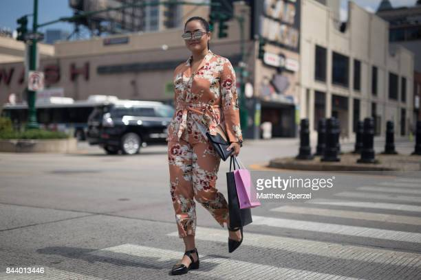 A guest is seen attending Malan Breton during New York Fashion Week wearing a floral outfit on September 7 2017 in New York City