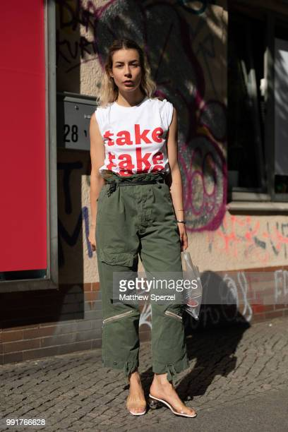 A guest is seen attending minimum launches SS19 collection wearing army green cargo pants during the Berlin Fashion Week July 2018 on July 4 2018 in...
